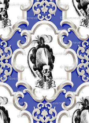4 Marie Antoinette french France Queen Empress poufs skulls skeletons Victorian elegant gothic lolita filigree scrolls Baroque Rococo scrollworks borders frames medallions Princess morbid macabre scary parody caricature egl