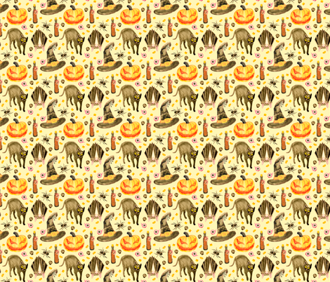 Vintage Halloween Pattern fabric by paperondesign on Spoonflower - custom fabric