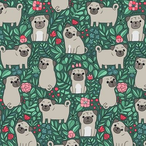 Cute pugs and flowers. Botanical design. Domestic pet and nature.