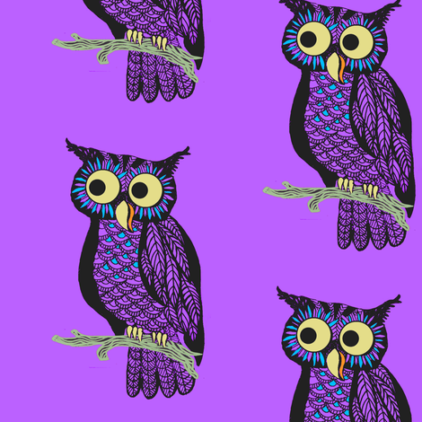 Halloween Owl Cute Pink Fabric Kids By