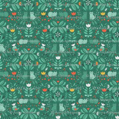 swedish folk art cats green