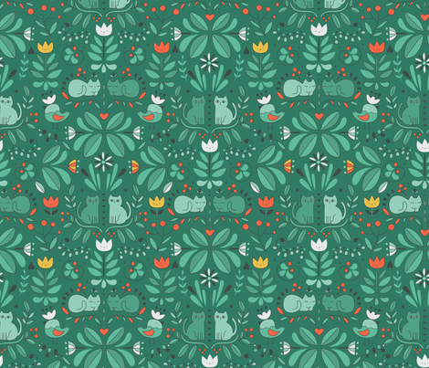 swedish folk art cats green fabric by kostolom3000 on Spoonflower - custom fabric