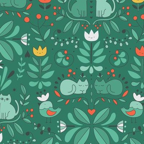 swedish folk art cats green