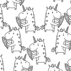 unicorn icecream pattern BW