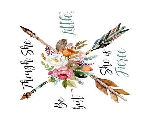 "Boho Arrows / Though She Be but Little, She is Fierce // 42""x36"" fabric by hipkiddesigns on Spoonflower - custom fabric"