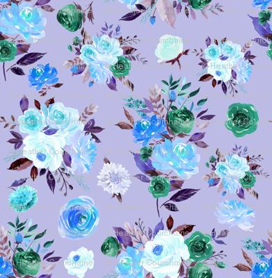 """2"""" BLUE Watercolor Floral Bouquets on Purple"""