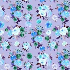 """4"""" BLUE Watercolor Floral Bouquets on Purple 6"""""""
