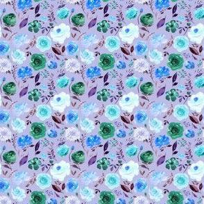 "2"" BLUE Watercolor Floral on Purple"