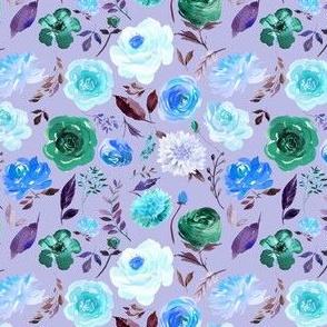 "4"" BLUE Watercolor Floral on Purple"