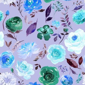 "8"" BLUE Watercolor Floral on Purple"