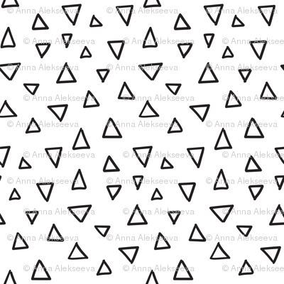 Abstrat doodles design.  Triangles fabric pattern.