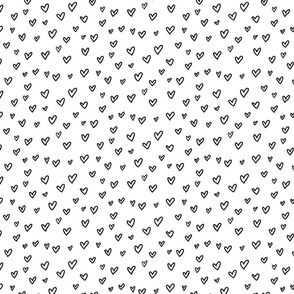 Abstrat doodles design.  Hearts fabric pattern.