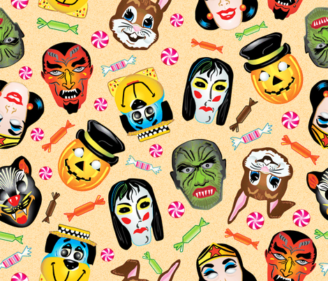 Vintage Halloween Masks fabric by vinpauld on Spoonflower - custom fabric