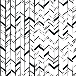 Hand Drawn Chevron Black/White