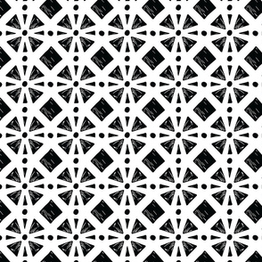 Hand Drawn Moroccan Tile Black/White