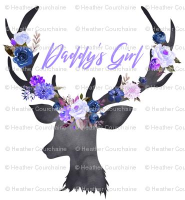 Fat Quarter Daddy's Girl Blue Floral Deer Head