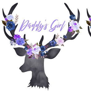 Fat Quarter Daddy's Girl Blue Floral Deer Head