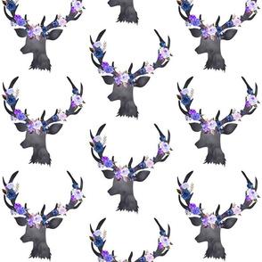 """6"""" Blue Floral Deer Head"""