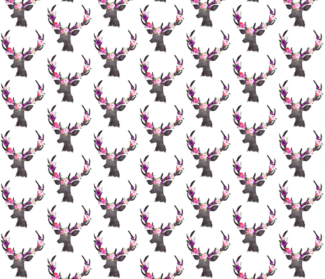 """3"""" Deer Head Floral BRIGHT fabric by greenmountainfabric on Spoonflower - custom fabric"""
