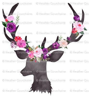 """6"""" Deer Head Floral BRIGHT"""