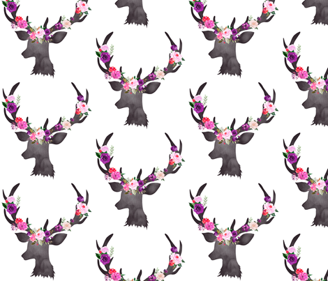 """6"""" Deer Head Floral BRIGHT fabric by greenmountainfabric on Spoonflower - custom fabric"""