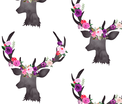 """12"""" Deer Head Floral BRIGHT fabric by greenmountainfabric on Spoonflower - custom fabric"""