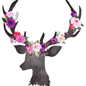 "12"" Deer Head Floral BRIGHT"