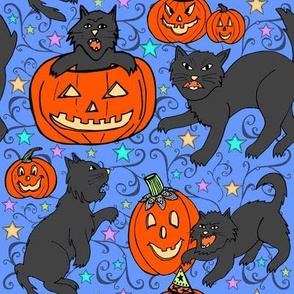 Vintage Cats and Jack-o-lanterns