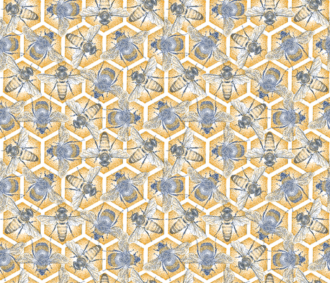Pointilliste Bees fabric by corazón-designs on Spoonflower - custom fabric