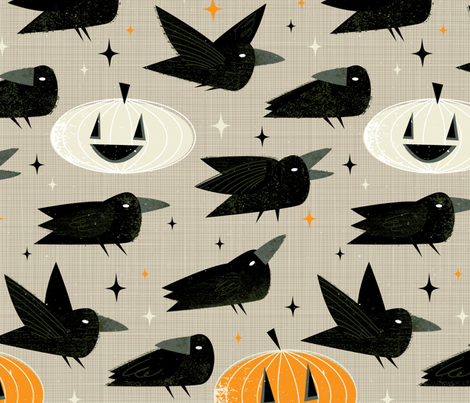 MCM Crows and Jack-O'-Lanterns by Friztin fabric by friztin on Spoonflower - custom fabric