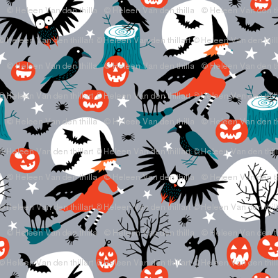 Halloween witches with full moon