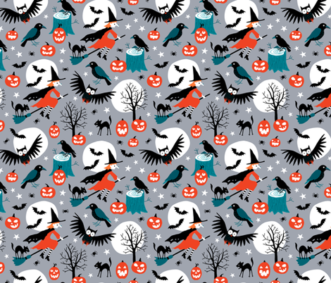 Halloween witches with full moon fabric by heleen_vd_thillart on Spoonflower - custom fabric