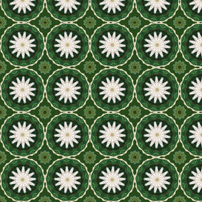 White Floral Snowflakes on Green 2477B