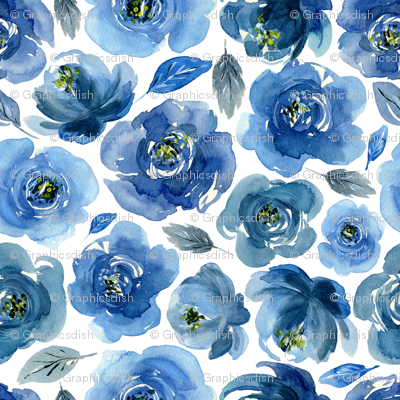 Watercolor boho blue roses flowers