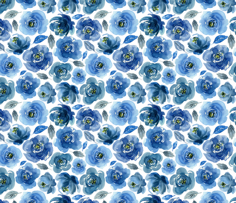 Watercolor boho blue roses flowers fabric by graphicsdish on Spoonflower - custom fabric