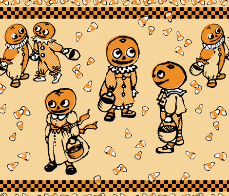 Pumpkinheads' Trick or Treat fabric by hootenannit on Spoonflower - custom fabric