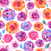 Watercolor bright purple roses flowers