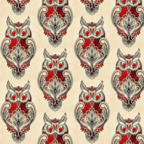 antique owl paisley