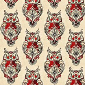 antique owl paisley