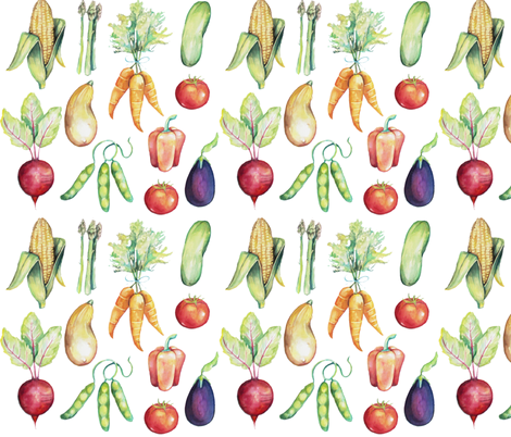 Vegetables from the Garden fabric by brushwelldesigns on Spoonflower - custom fabric