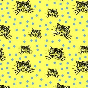 More Meow Kitty Cat Block Print Design:  Buttery Yellow with Happy Blue Dots