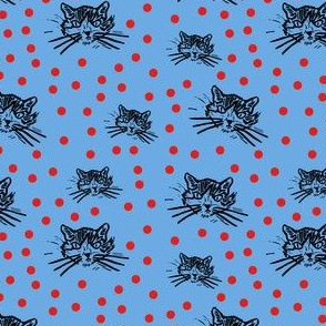 More Meow Kitty Cat Block Print Design:  Happy Blue with Rich Red Orange Dots