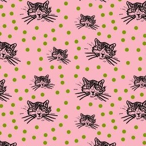 More Meow Kitty Cat Block Print Design:  Pretty Pink with Dark Grass Green Dots