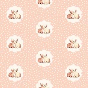 Bunny Love Retro Peach Polka Dot Flower