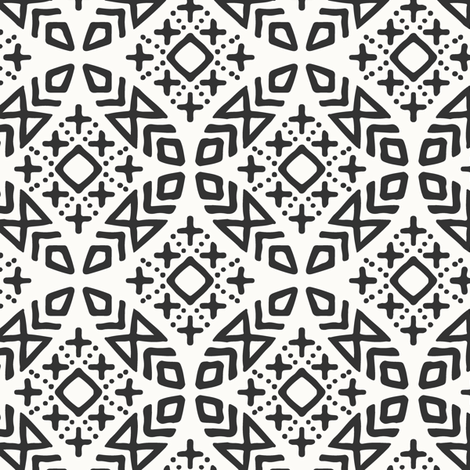 (small scale) modern moroccan on bone fabric by littlearrowdesign on Spoonflower - custom fabric