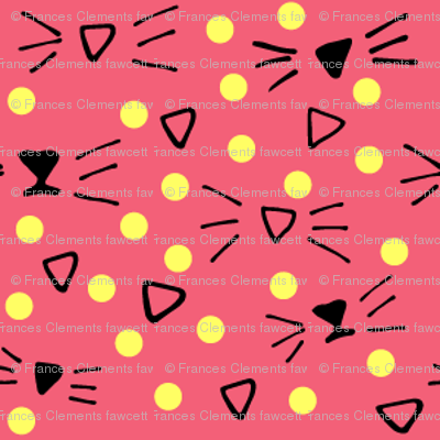More Meow Kitty Cat Whiskers 'n Dots:  Rich Rose Pink with Buttery Yellow Dots