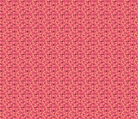 More Meow Kitty Cat Whiskers 'n Dots:  Rich Rose Pink with Buttery Yellow Dots fabric by francescfawcett on Spoonflower - custom fabric