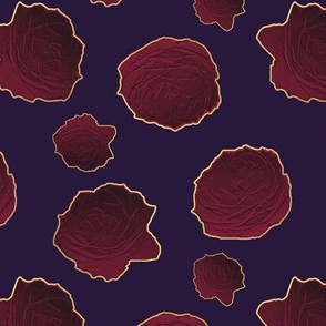 Metallic Ombre Roses on Dark Purple Upholstery Fabric