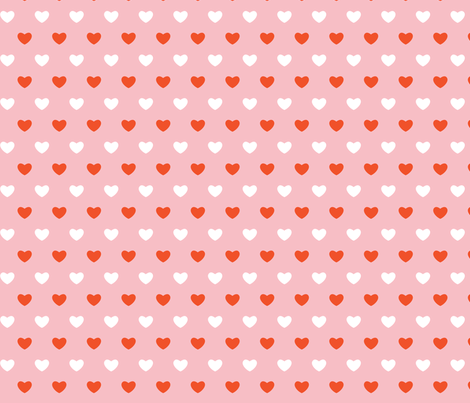 Hearts - Pink & Orange - Large fabric by cpilgrim on Spoonflower - custom fabric