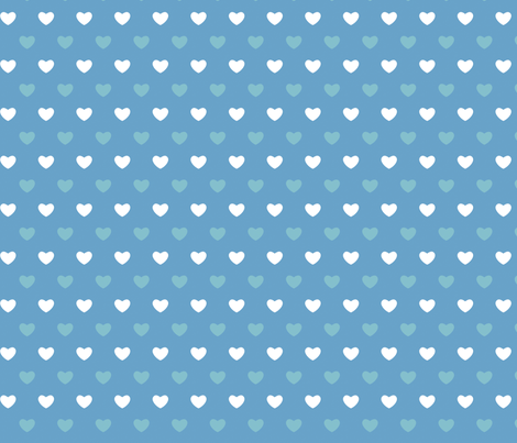 Hearts - Blues - Large fabric by cpilgrim on Spoonflower - custom fabric